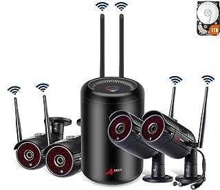 【El más Nuevo】 SWINWAY 1080P CCTV Kit Cámaras de Vigilancia WiFi NVR 4CH Sistema Videovigilancia WiFi 2MP Sistema CCTV 4 Cámaras de Seguridad WiFi Exterior Visión Nocturna Detección de Movimiento