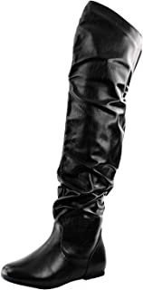 Women's Over The Knee Slouchy Flat Boots Knee High Low Heel Shoes Thigh High Boots