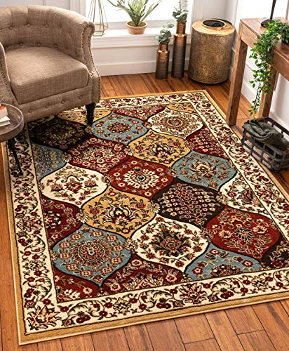 """Dynasty Panel Ivory Multi Oriental Floral Geometric Modern Area Rug 8x10 8x11 ( 7'10"""" x 9'10"""") Easy Clean Stain Fade Resistant Shed Free Contemporary Formal Lattice Trellis Soft Living Dining Room Rug"""