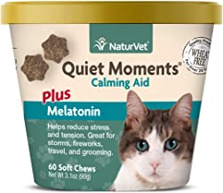 NaturVet –Quiet Moments Calming Aid for Cats Plus Melatonin – 60 Soft Chews – Helps..