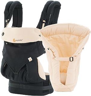 Ergobaby 套裝 - 2 件產品:黑色/駝色 4 位置 360 帶天然嬰兒枕芯
