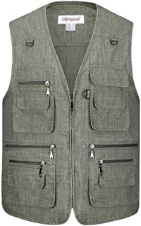 Mens Multi Pocket Vest Waistcoat Jacket Top for Fishing Hunting Hiking Gilet Waistcoat
