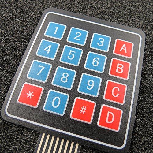 Unbekannt 4x4 Matrix Array 16 Tasten Tastatur Folientastatur für Arduino Raspberry Pi Flex