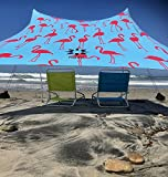 Neso Tents Beach Tent with Sand Anchor, Portable Canopy Sunshade - 7' x 7' - Patented Reinforced Corners(Flamingos)