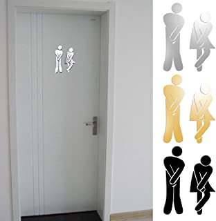 Best-ycldcyp 3D Removable Man Woman Mirror Sticker Washroom Signpost Toilet Door Entrance Sign DIY Wall Stickers Home Decor Decals (Color : Silver)