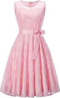 DEATU Bridesmaid Lace Dress Women Sleeveless/Long Sleeve Formal Ladies Wedding Bridesmaid Lace Long Dress