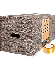 Pack 12 Cajas Carton para Mudanzas y Almacenaje Extra Grandes 600 x 300 x 275 mm Ultra Resistentes con Asas + Cinta Adhesiva, 100% ECO Box | packer PRO