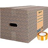 Pack 12 Cajas Carton para Mudanzas y Almacenaje Extra Grandes 600 x 300 x 275 mm...