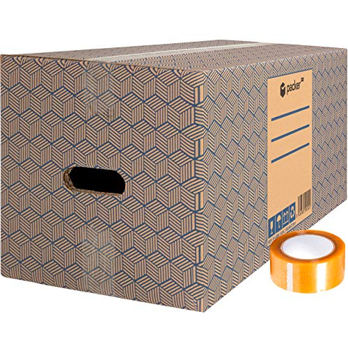 packer Pro Pack 12 Cajas Carton para Mudanzas y Almacenaje con Asas y Precinto Adhesivo 600x300x275mm