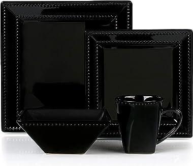 Lorenxo Imports Beaded Stoneware 16 Piece Dinnerware Set, Service for 4 Black