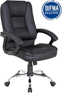 LCH PU Leather Office Chair Swivel Executive Chair with Tilt Function and Thick Seat, Ergonomic Computer Chair Headrest and Lumbar Support 350 LBS (Black)