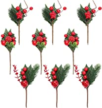 KESYOO 9pcs Christmas Tree Picks Realistic Berry Bouquets Artificial Pine Branches for Christmas Table Centerpiece Wreath ...