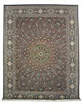 Alfombra tradicional persa hecha a mano, lana/seda (puntos destacados), azul oscuro medianoche, grande, 270 x 363 cm, 8' 10' x 11' 11' (pies)