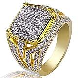 YUnnuopromi - Anillo de Boda para Hombre o Mujer, con Brillantes Diamantes de imitación, para Compromiso, Novio, Novio, Oro 9