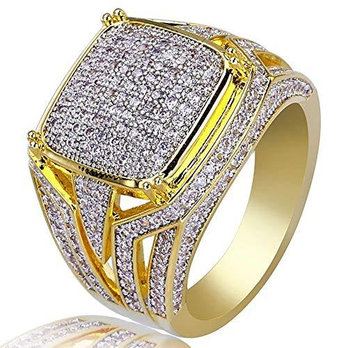 Yunnuopromi - Anillo de boda para hombre y mujer con diamantes de imitación brillantes, color dorado 10
