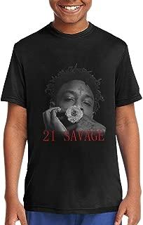 Unisex Boys Girls Short Sleeve Top Youth T-Shirt Teenager Tees Blac Clothing