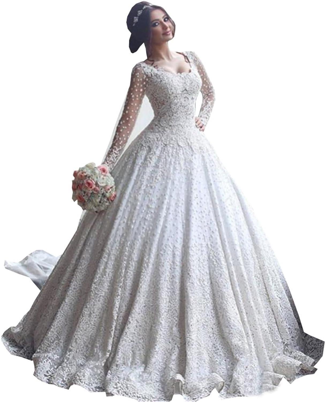 Ellystar Women's Luxury Ball Gown Lace Long Sleeve Zipper Jewel Bridal Dresses