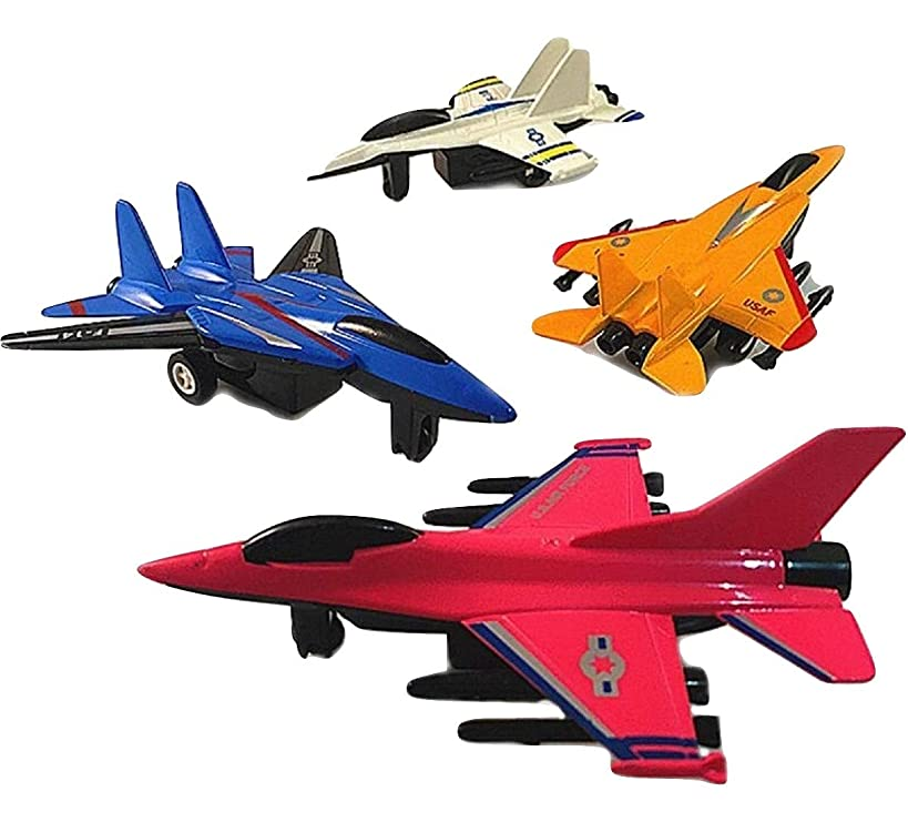 SoGreat Pull Back Airplane Toys for Kids (4 Pc. Set) Military Fight Jets Collection | Plastic Die-Cast | Inspire Science, Imagination, Social Play, Creativity in Boys and Girls