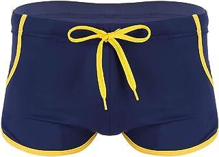 ranrann Men's Low Rise Drawstring Swim Trunks Solid Color Quick Dry Swimwear Boxer Shorts