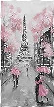 Naanle Beautiful Street View of Paris Eiffel Tower Painting Print Soft Guest Hand Towels Multipurpose for Bathroom, Hotel,...