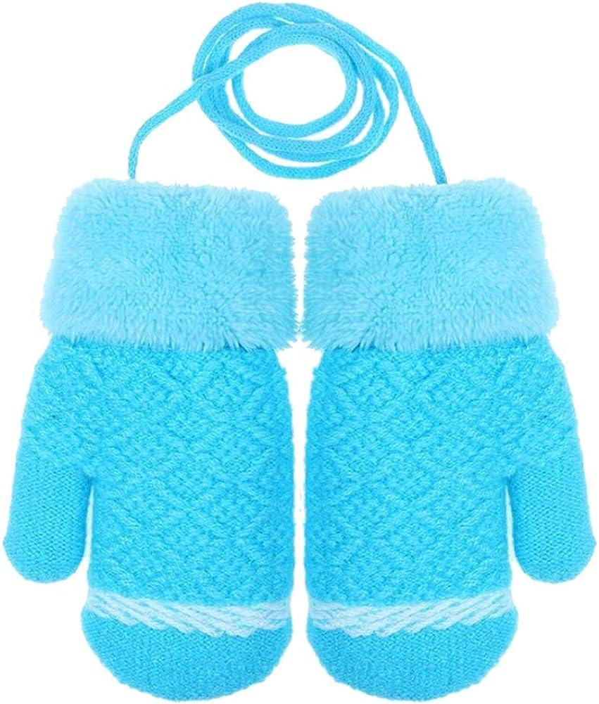 CHUANGLI Toddler Kids Warm Winter Full Finger Gloves Thick Fleece Lined Ski Gloves Mittens for 3-6 Years