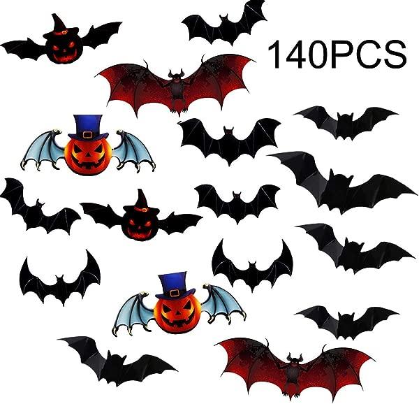 Acronde 140 个万圣节装饰品 3D 吓人蝙蝠墙贴花墙贴派对用品万圣节前夕装饰家居窗门装饰集