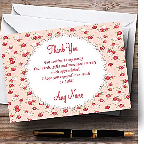 Red And Coral Pink Floral Shabby Chic Chintz Personalized Party Thank You Cards