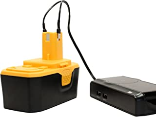 Ryobi 18V Battery and Charger Replacement - Compatible with Ryobi P100, P501, P300, P3200, P230, P700, P600, P530, P510, P250, P221, P521, P200, P240, P310, P400, P420, P500, P211, P410, P220, P430, P740 (1300mAh, NICD)