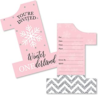 Big Dot of Happiness Pink Onederland - Shaped Fill-in Invitations - Holiday Snowflake Winter Wonderland Birthday Party Invitation Cards with Envelopes - Set of 12