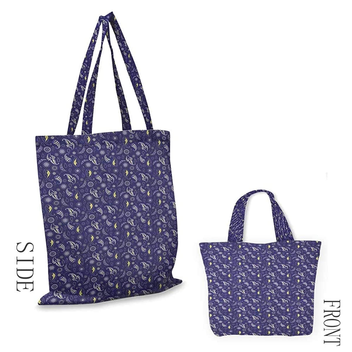 """Canvas bag MoonAbstract Floral Figures with Stars and Sleeping Moons Nocturnal Oriental Violet Blue Pale Yellow18""""W x 16""""H"""