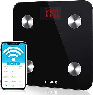 Báscula Grasa Corporal Wifi, LIORQUE Báscula de Baño Digital con APP Báscula Inteligente con 14 Medidas de Composición Corporal, Compatible con Móviles Andriod y iOS