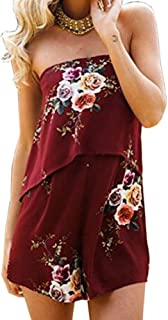 9093daea8a3 Moxeay Sexy Off Shoulder Floral Print Overlay Romper Shorts Jumpsuit