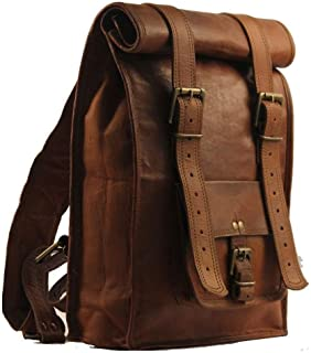 Urban Dezire Men's Leather Vintage Roll On Laptop Backpack Rucksack