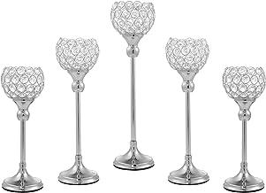 ECOM KING Sliver Crystal Candle Holder,Tea Light Candlestick Holders for Wedding Table Decoration,Centerpiece for Party Ho...