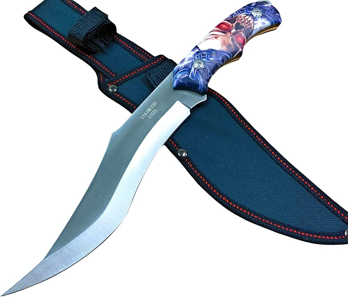 """SKULL Handle 13"""" Tactical Survival Combat Fixed Blade Bowie EDC Hunting knife"""