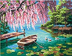 Paint by numbers kit contains high-quality acrylic paints, (1) pre-printed textured art board, (1) set of instructions, and (1) paintbrush. Finished painting measures 14'' W x 11'' L. Paint a stunning lakeside masterpiece of a willow tree towering ov...