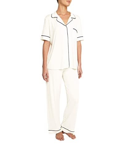 Eberjey Gisele Pajamas Short Sleeve Pants Set (Ivory/Navy) Women