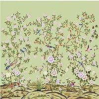 Ljjlm カスタムの大規模な壁画は手描きのレトロな花や鳥のテレビの背景の装飾的な絵画の壁紙を描いた-350X230Cm