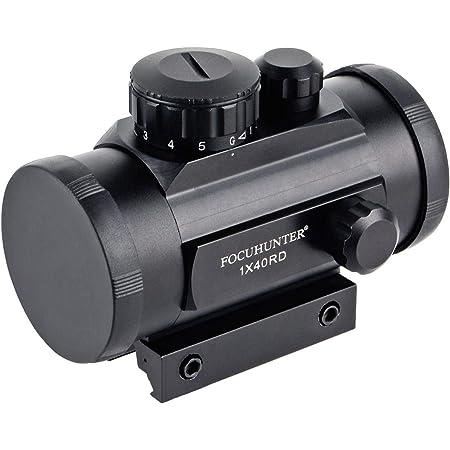 Focuhunter Taktisches Zielfernrohr 5 Helligkeitseinstellungen Rot Grün Dot Sight Optics Mit 20mm Picatinny Schienenmontage Und Klappdeckel Für Die Jagd Sport Freizeit