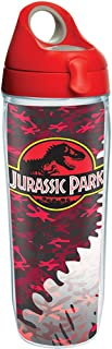 Tervis 1283879 Jurassic Park Red Camo Tumbler with Wrap and Red with Gray Lid 24oz Water Bottle, Clear