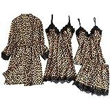waotier Pijamas de Seda Satinada Conjuntos Mujer Vestido de Noche Lencería Batas Estampado de Leopardo Ropa Interior Ropa de Dormir 3PC