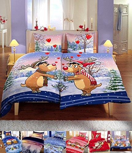 Winter Flausch Bettwäsche Weihnachten Motive Microfaser Thermo Fleece, 2x 135x200 cm + 2x 80x80 cm Edeline