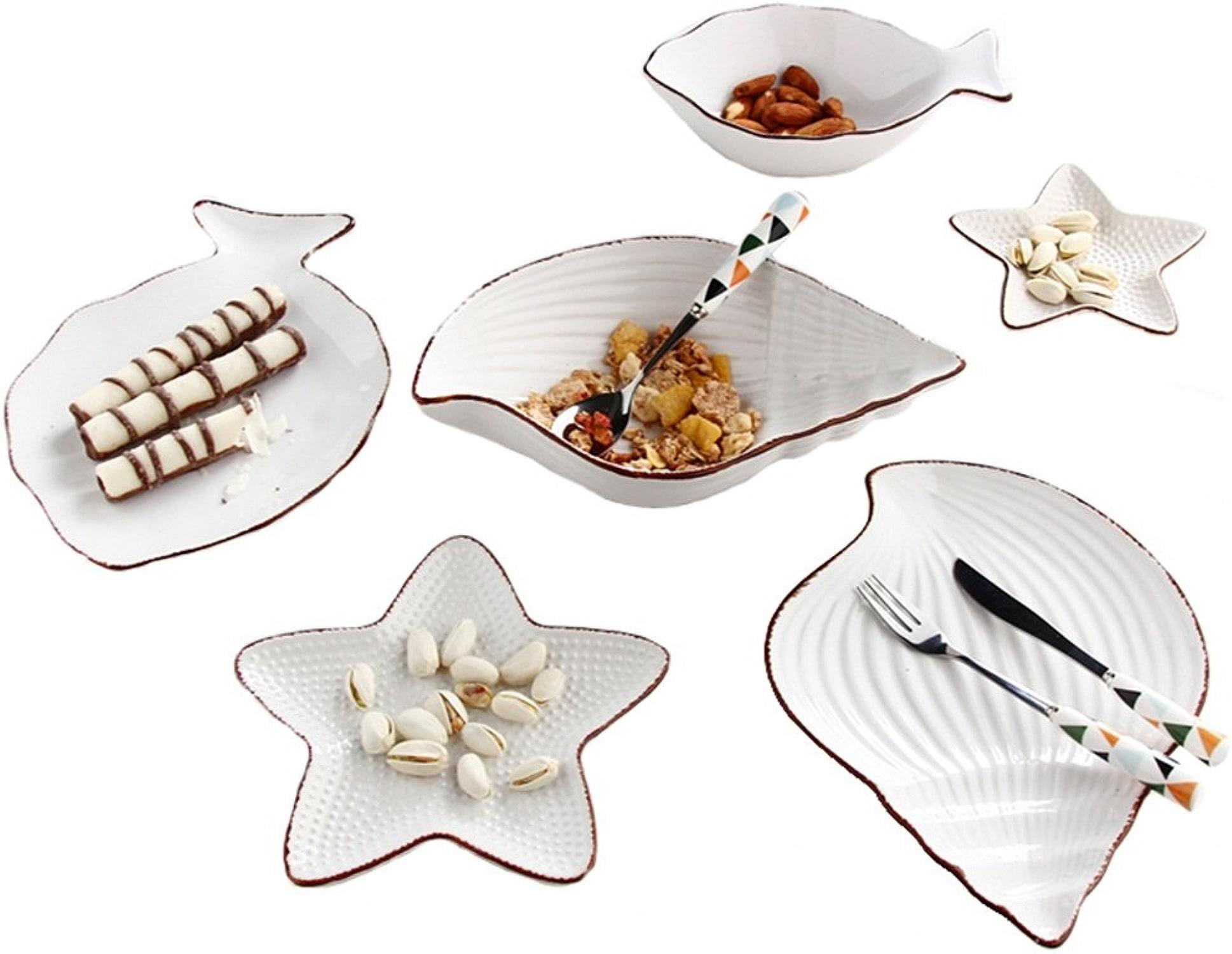 Canju Définir la vaisselle, série marine creative voituretoon couverts en céramique ensemble de style nordique plat assiette dessert assiette salade assiette petit poisson bol, vaisselle occidentale