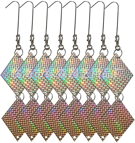 REVERSE Discos Repelentes 8Pcs Forma Rhombic Colgante Repelente de Pájaros Reflectante, No es Tóxico para el Medio Ambiente de Repelente de Pájaro Colgante Efectivo y Atractivo