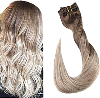 Fshine Clip In Human Hair Extensions Remy Hair Clip Ins 10 Pcs Double Weft Clip Hair Color 8 Ash Brown Fading to 18 and 60 Platnium Blonde Balayage Real Hair Clip On Extensions 12 Inch 80 Gram