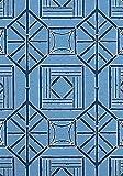 Toll2452 - Funda de almohada (bambú), diseño de panel shoji, color azul y azul marino