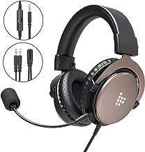Tronsmart SONO Auriculares Gaming PS4 Estéreo con Micrófono Plegable para PC PSP Xbox One,Cascos Gaming controlador de 50MM,Sonido Envolvente,Control de Volumen,Cancelación de Ruido, Diadema Acolchada