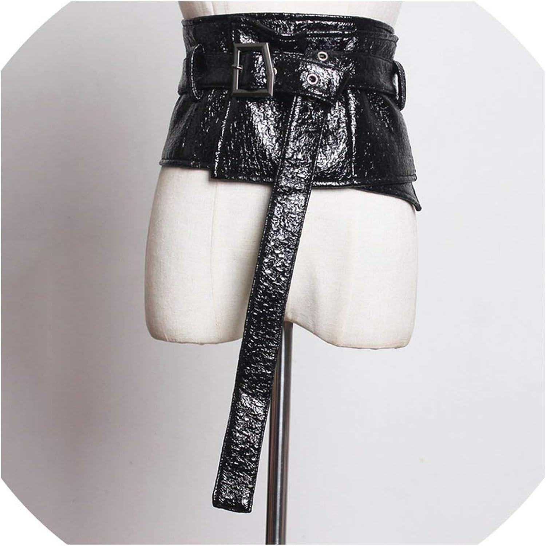 Pattern Split Joint Personality Long Wide Belt Women Tide AllMatch,Black,133cm