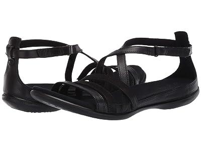 ECCO Summer Cross Strap Sandal (Black/Black Cow Nubuck/Cow Leather) Women