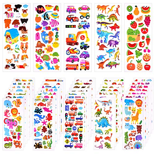TUPARKA 1000+ 3D Stickers Puffy Stickers 40 Different Sheets Craft Stickers for Kids Scrapbooking Bullet Journals